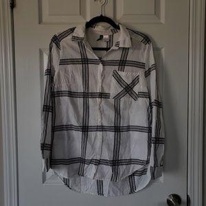 Check Print High Low Button-up Collar Shirt